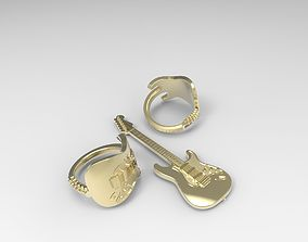 Fender Stratocaster guitar ring and pendant 3D print model