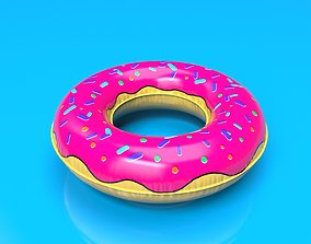 animated Inflatable donut circle Pool Float Low-Poly 3