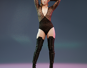 Girl in Thighhigh Boots and Lace Suit 3D asset