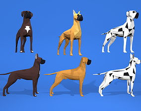 3D model 6 Dogs Great Dane - Dogue allemand Lowpoly