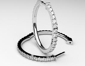 Diamond hoop earrings round rings 3D printable model 2