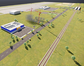 Airport with Train Station and Scene 3D model