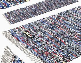 3D model Carpet Hand Woven Striped Pattern Cotton - blue