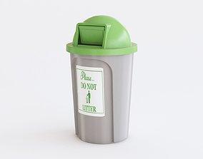 Public trash can 3D model