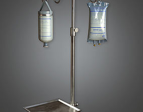 Medical Drip Stand HPL - PBR Game Ready 3D model