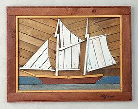 3D model Folk Art Painted Wood Lathe Assemblage Ship