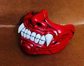 Face Mask - Half Samurai Mask - Halloween 3D print model 1