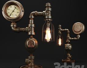 Steampunk Steam Gauge Lamp 3D