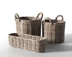 Wicker Basket Set wooden 3D
