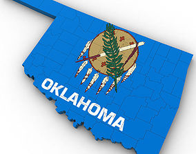 architectural 3D Oklahoma Political Map