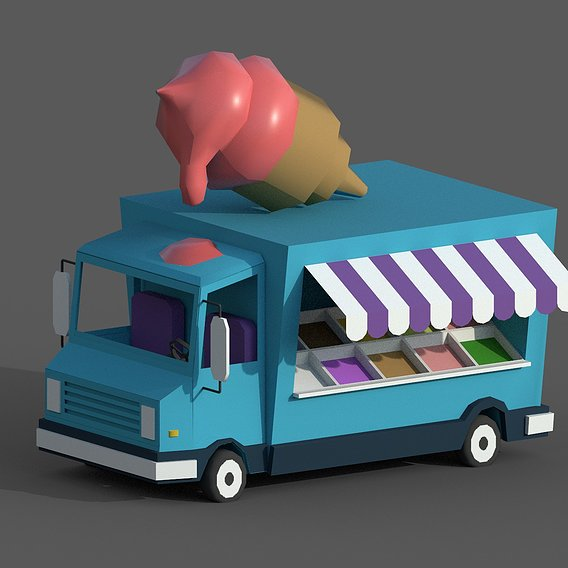 Lowpoly Stylized Ice Cream Car