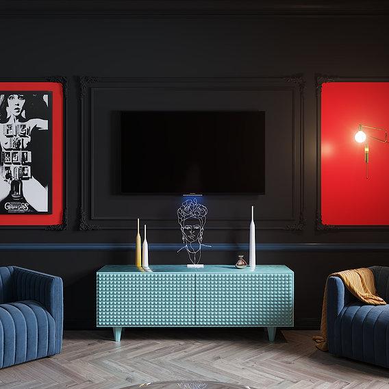 Dark apartment and red sofa