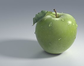 3D Green Apple Granny Smith Apple with dew