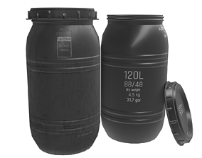 3D asset Game-ready Plastic Barrel - clean and dirty -