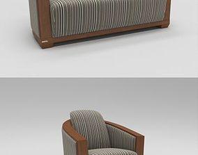 3D model Curved rear sofa