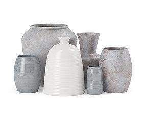 Ceramic Vases 3D model grey