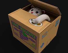 Cat Stealing Piggy Bank 3D model