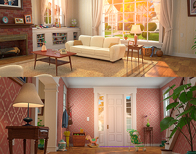 3D Cartoon Hall Living Room