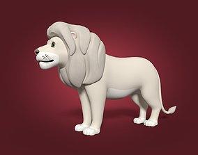 Cartoon White Lion 3D