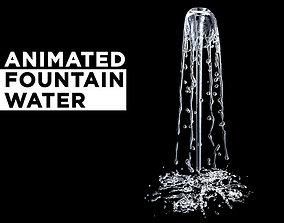 Animated splashing fountain water simulation 3D