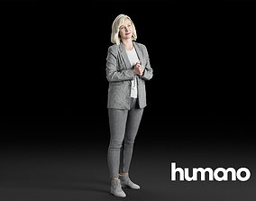 3D Humano Elegant Business Woman Standing 0104