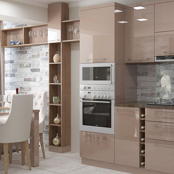Capuccino &Wood Modern Kitchen