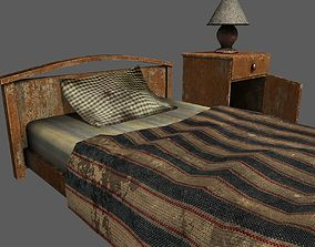 Old Bed Lamp and Bedside Table Pack 3D asset