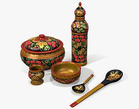 3D model Hohloma Wooden Tableware