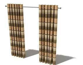 3D model Brown Striped Curtains