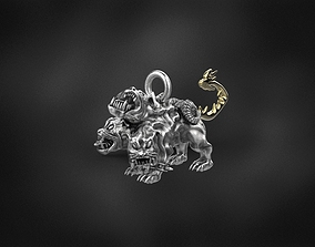 cerberus pendant for 3d printing 3D print model gold