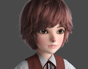 3D student Cartoon Boy NoRig