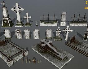 3D model tombstone set