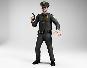 polieman gun in hand ready to shoot low poly 3D asset 2