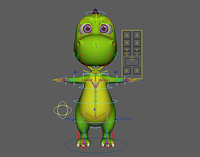 Asset - Cartoons - Animal - Dinosuar - Rig 3D