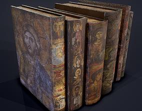 3D asset Medieval Books Row 2 Design 2