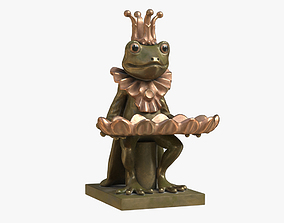 3D model Frog and Dish Statuette
