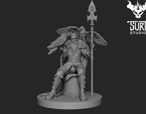 3D print model Odin with Huminn and Muninn