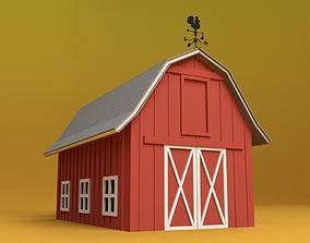 3D model Cartoon Barn