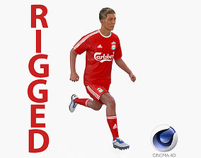Soccer Player Liverpool Rigged for Cinema 3D model