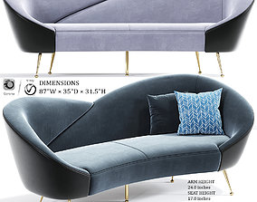 3D Wing Curved Sofa in Gray