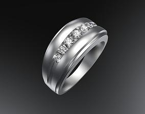 Five stone mens ring 3D print model