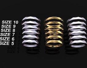 NARROW LOW POLY THIN BAND RING MIX 3D printable model 3