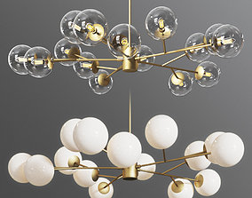 3D Orion 15 Light Pendant Clear and Opaque Glass