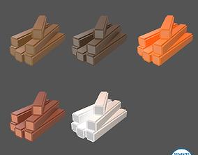 Voxel Wood Log v2 Pack 01 3D asset