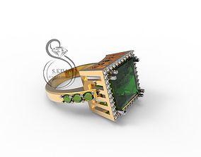 3D print model Square gem ring 10mm Princess
