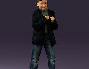 Kid in jeans dark blue winter jacket 0538 3D Print Ready