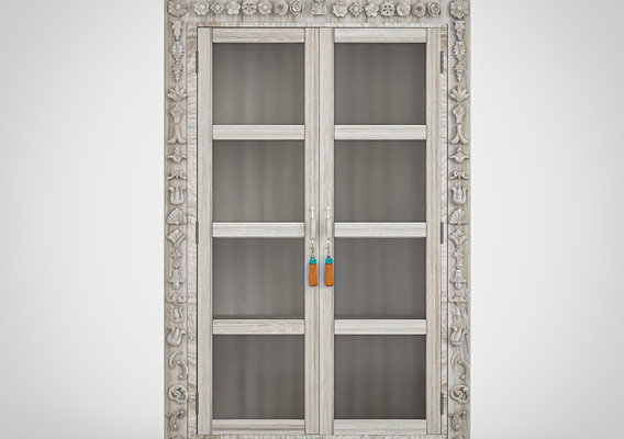 Showcase carved two wooden doors