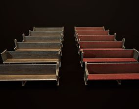 Game Ready Wooden Church Pews Set 3D asset