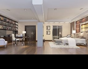3D Luxury bedroom and study room