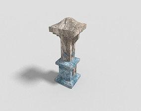 low poly dungeon pillar 1 3D asset